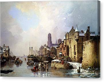 Winter In Konigsberg Canvas Print by Ludwig Hermann