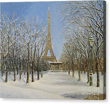 Winter In Paris Canvas Print by Kiril Stanchev