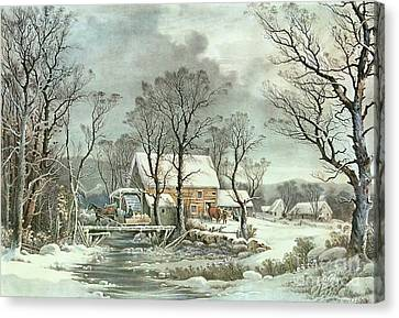 Winter In The Country - The Old Grist Mill Canvas Print by Currier and Ives