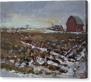 Winter In The Farm Canvas Print by Ylli Haruni