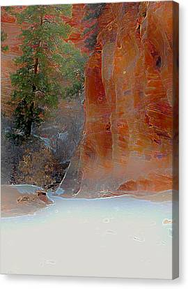 Winter In Zion Canvas Print by Peri Marr