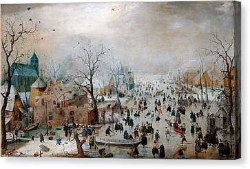 Winter Landscape With Skaters Canvas Print by Celestial Images