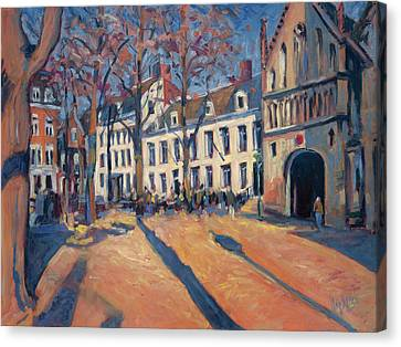 Winter Light At The Our Lady Square In Maastricht Canvas Print by Nop Briex