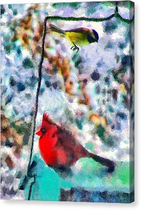Winter Meals Canvas Print by Marilyn Sholin