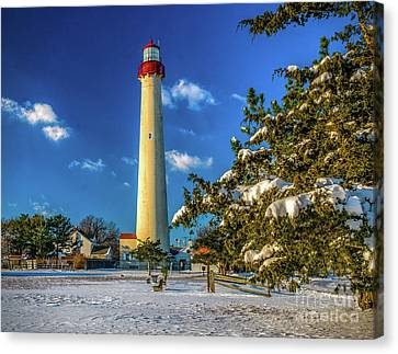 Winter Morning At Cape May Light Canvas Print by Nick Zelinsky