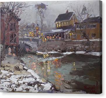 Winter Nocturne In Williamsville Canvas Print by Ylli Haruni