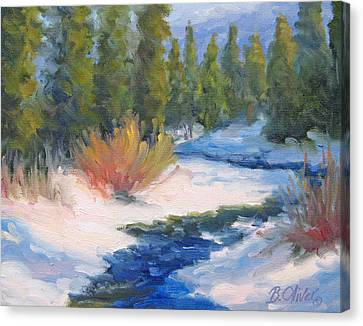 Winter On Gore Creek Canvas Print by Bunny Oliver
