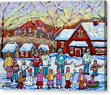 Winter Playground Painting By Canadian Hockey Art Specialist Carole Spandau Skating Sledding Snowman Canvas Print by Carole Spandau