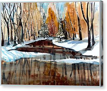 Winter Reflections Canvas Print by Mindy Newman
