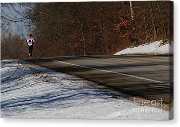 Winter Run Canvas Print by Linda Knorr Shafer