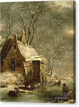 Winter Scene Canvas Print by Jan Beerstraten