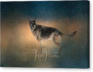 Winter Shepherd - Happy Holidays Canvas Print by Jai Johnson