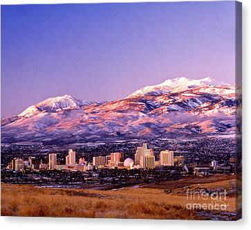 Winter Skyline Of Reno Nevada Canvas Print by Vance Fox
