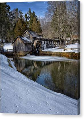 Winter Snow At Mabry Mill Canvas Print by Steve Hurt