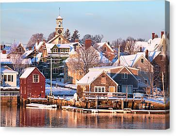 Winter Snowfall In Portsmouth Canvas Print by Eric Gendron
