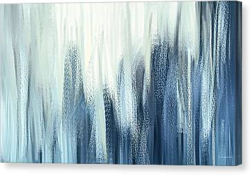 Winter Sorrows - Blue And White Abstract Canvas Print by Lourry Legarde