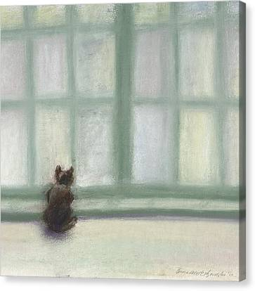 Winter Window Canvas Print by Bernadette Kazmarski