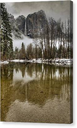 Wintery Upper And Lower Yosemite Falls  Canvas Print by Connie Cooper-Edwards