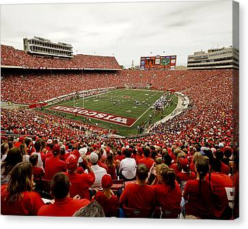 Wisconsin Badgers Play In Camp Randall Stadium Canvas Print by Relpay Photos