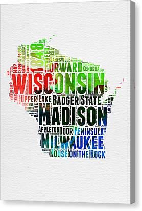 Wisconsin Watercolor Word Cloud Map  Canvas Print by Naxart Studio