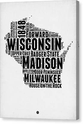 Wisconsin Word Cloud Map 2 Canvas Print by Naxart Studio
