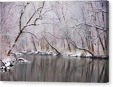 Wissahickon Creek In A Winter Wonderland Canvas Print by Bill Cannon