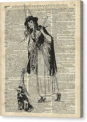 Witch With Broom And Cat Haloowen Party Decoration Gift In Vintage Style Canvas Print by Jacob Kuch