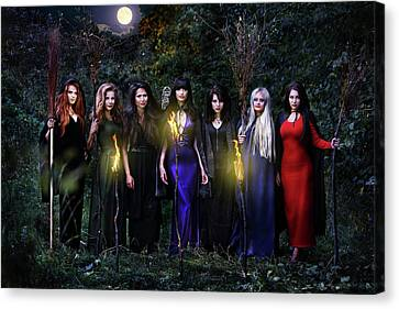 witches coven on Halloween by Iuliia Malivanchuk Canvas Print by Iuliia Malivanchuk