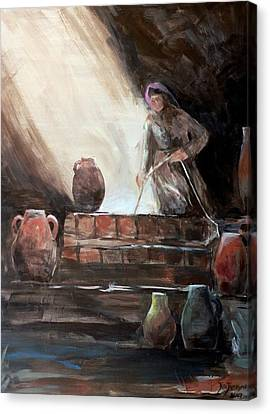 Woman At The Well  Canvas Print by Jun Jamosmos