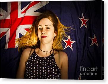 Woman Celebrating Australia Day On Australian Flag Canvas Print by Jorgo Photography - Wall Art Gallery