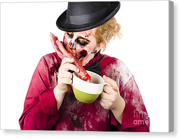 Woman Eating Bloody Hand Canvas Print by Jorgo Photography - Wall Art Gallery