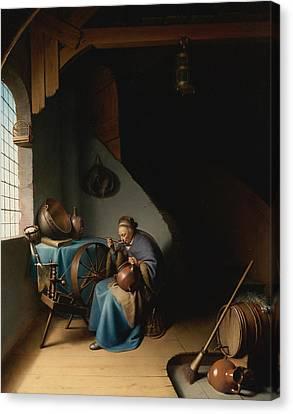 Woman Eating Porridge Canvas Print by Gerrit Dou