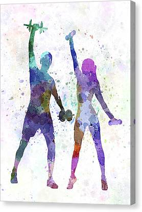 Woman Exercising With Man Coach Canvas Print by Pablo Romero