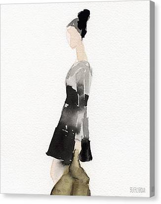 Woman In A Black And Gray Dress Fashion Illustration Art Print Canvas Print by Beverly Brown Prints