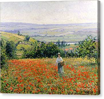 Woman In A Poppy Field Canvas Print by Leon Giran Max