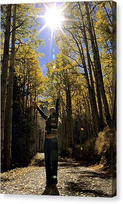 Woman In The Falling Leaves Canvas Print by Dawn Kish