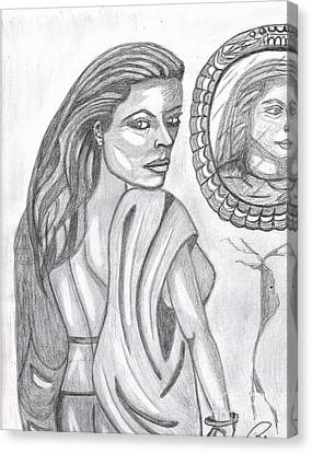 Woman In The Mirror Canvas Print by Richard Heyman