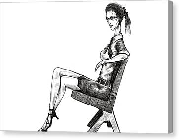 Woman On Bench Canvas Print by Sasank Gopinathan