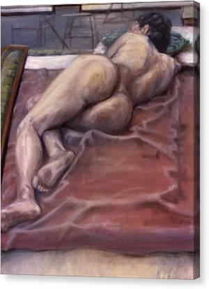 Woman On Blanket Canvas Print by John Clum