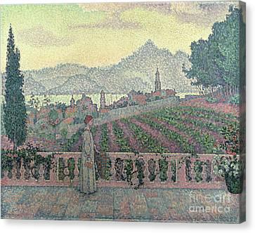 Woman On The Terrace Canvas Print by Paul Signac
