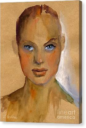 Woman Portrait Sketch Canvas Print by Svetlana Novikova