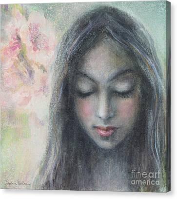 Woman Praying Meditation Painting Print Canvas Print by Svetlana Novikova