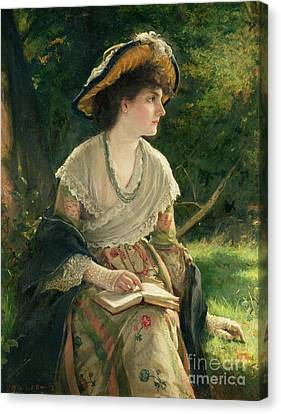 Woman Reading Canvas Print by Robert James Gordon