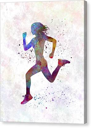 Woman Runner Running Jogger Jogging Silhouette 01 Canvas Print by Pablo Romero