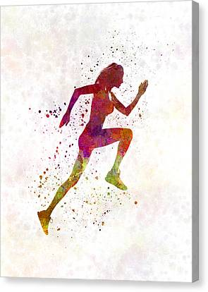 Woman Runner Running Jogger Jogging Silhouette 02 Canvas Print by Pablo Romero