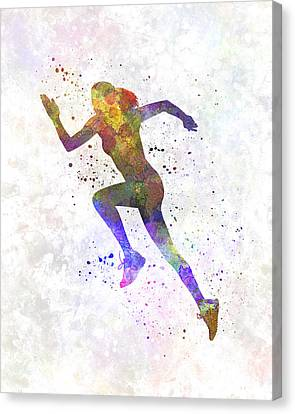 Woman Runner Running Jogger Jogging Silhouette 03 Canvas Print by Pablo Romero