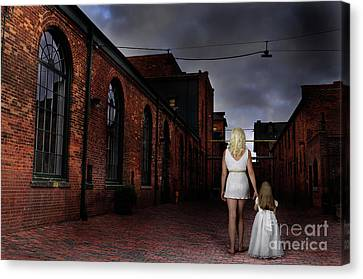 Woman Walking Away With A Child Canvas Print by Oleksiy Maksymenko