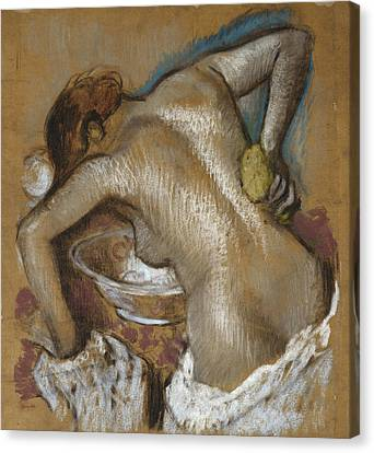 Woman Washing Her Back With A Sponge Canvas Print by Edgar Degas
