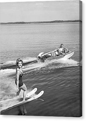 Woman Water Skiing Canvas Print by Underwood Archives