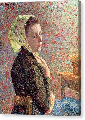 Woman Wearing A Green Headscarf Canvas Print by Camille Pissarro